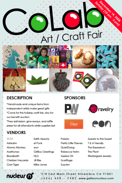Gallery Nucleus Holiday Art/Craft Fair (and the Ravelry mini-mart for all!)