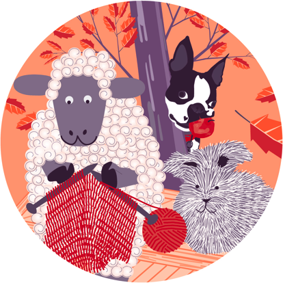 knitting sheep, bunny, and bob!